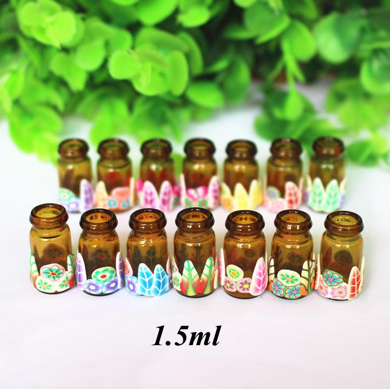 1d5c70f18f44 10pcs/Pack Mini Polymer Clay Essential Oil Bottle 1.5ml DIY Jewelry Glass  Pendant Wishing Bottles Vials With Natural Wood Cork
