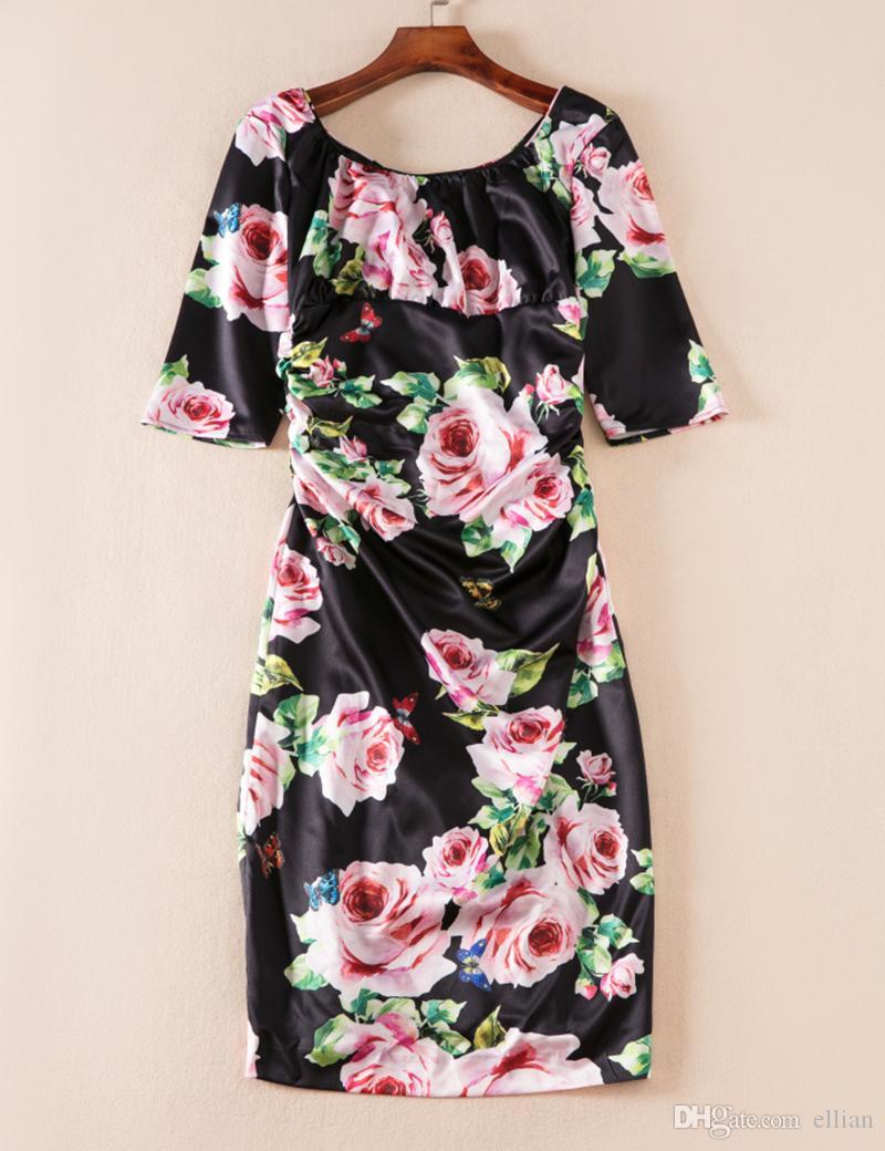 82bbfeea570ff Flower Print Women Sheath Dress Short Sleeve Dresses 08K852 Flower Women  Dress Online with  58.69 Piece on Ellian s Store