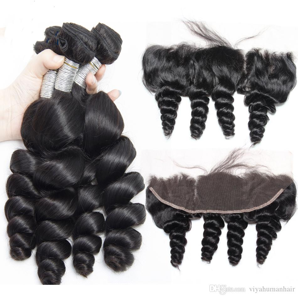 Lace Frontal Closure Bleached Knots With Baby Hair Can Be Dyed Frontal Ear to Ear Body Loose Deep Wave Straight Curly