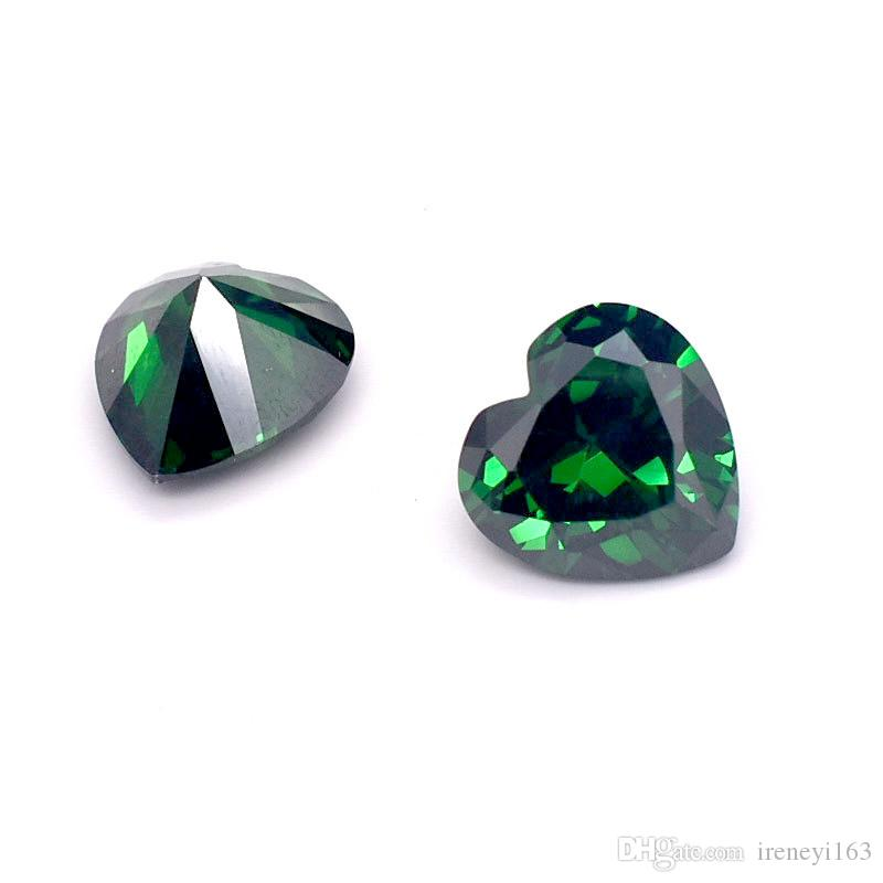 Heart Shape 4-11mm 3A Quality Emerald Green Cubic Zirconia Machine Cut Synthetic Loose Stones For Jewelry Setting