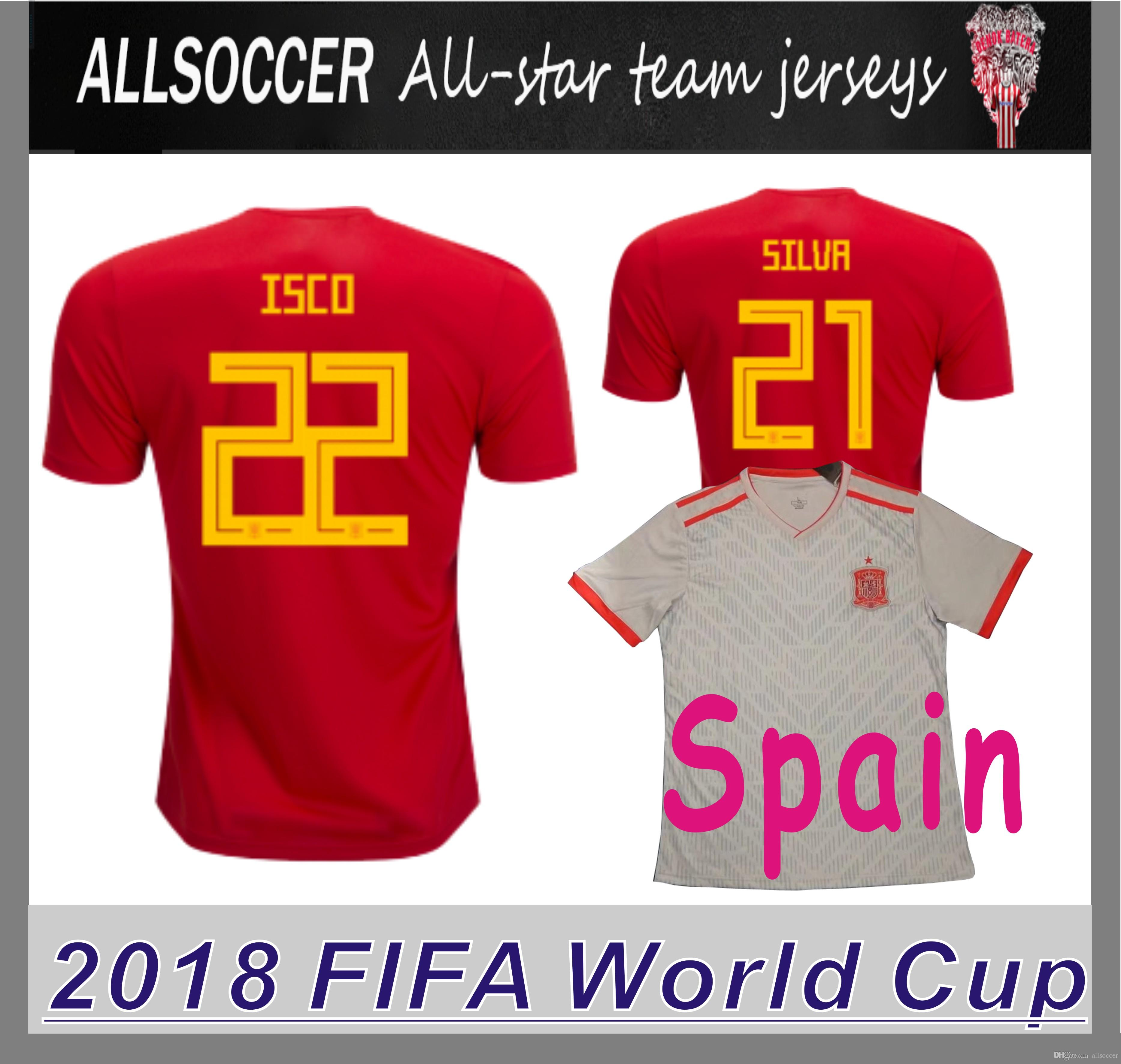 47899eaff 2018 World Cup JERSEYS Spain Home And Away Soccer Tshirts Marco ...