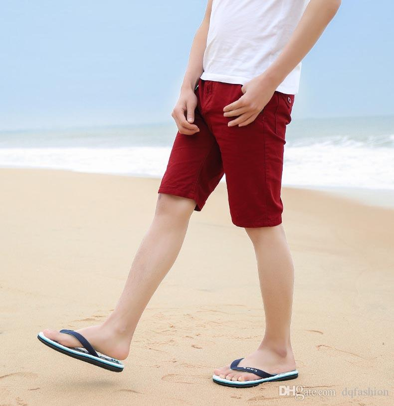 2018 Spring new simple men's flip flops thick feet and slippers outdoor Europe and the United States tide beach shoes