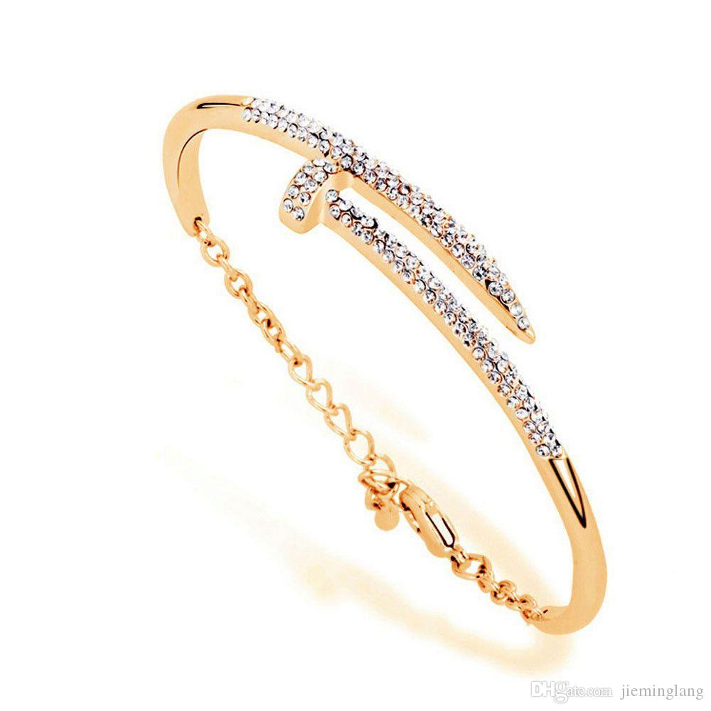 Free shipping Fashion jewelry gold silver charm bracelets nail bangle bracelets for women party jewelry Christmas gift