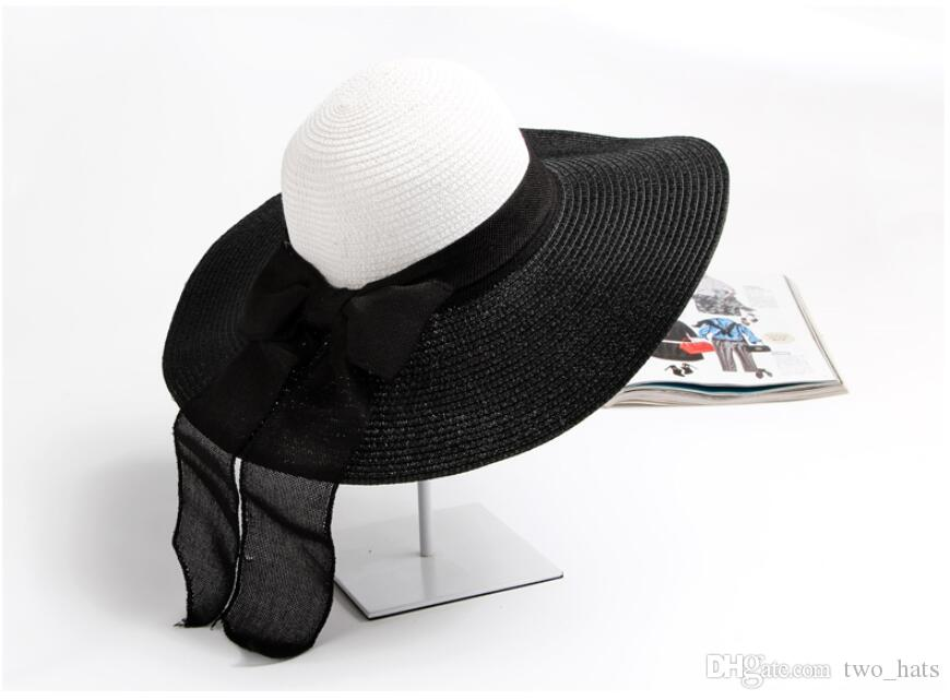 Women's Large Brim Sun Hats with Bowknot Black and white Stripes Straw Hat Floppy Linen Band Hats for Summer Holidays Travelling Beach QF