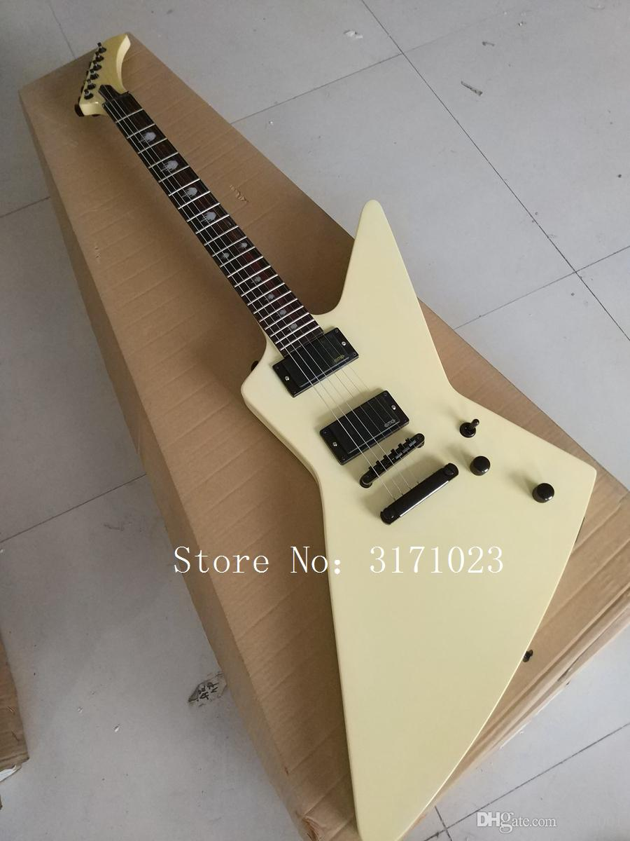 Factory custom G custom shop Explorer shape Electric guitar,with Black Hardware, in cream color, All color are available