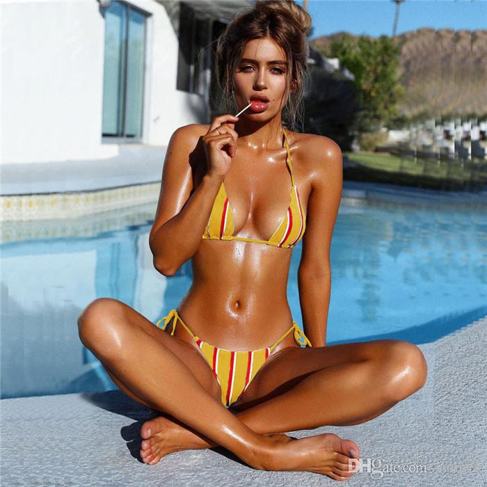 sexy Navy style stripes bikini 2018 bikini halter Swimsuit Padded Bra Swimwear Printed Bathing Suit maillot de bain femme Factory wholesale