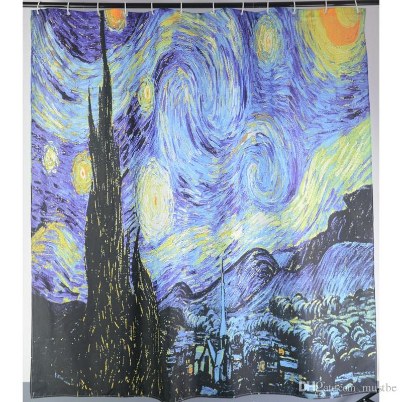 Printed Star Sky Shower Curtains Van Gogh The Starry Night Waterproof Polyester Fabric Bathroom Curtain With 12 Hooks 180x180cm