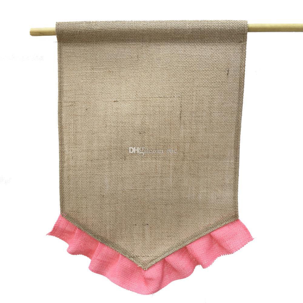 Drapeau de toile de jute bricolage Volants de jute bricolage Drapeaux de jardin Portable bannière vierge Décorations de jardin de Pâques 10 couleurs