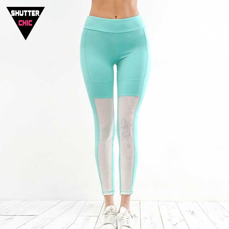 873f7c33f0821 2019 Shutterchic Mesh Splice Leggings Fitness Women Sports High Quality  Yoga Pants Gym Tights Bodybuilding Sexy Women'S Pants Sales From Cumax, ...