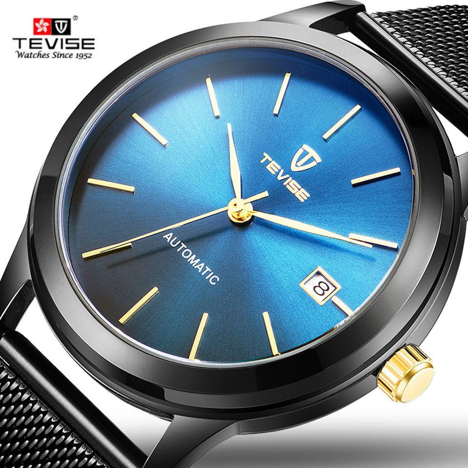71336e80d100 Compre TEVISE Negro Azul Reloj Mecánico Hombres Malla De Acero Relojes  Automáticos De Oro Completo De Lujo Impermeable A Prueba De Choques Fecha Reloj  Para ...