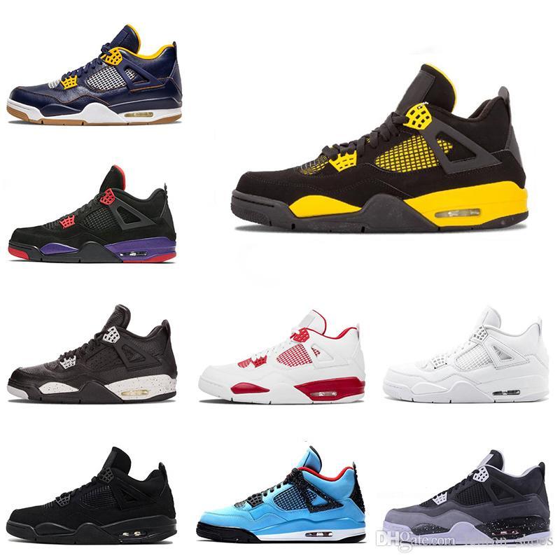premier taux a4391 32dbe Nike air jordan 4 4s Nouveau 4s chaussures de basket pour hommes Thunder  Pure Money Premium chat noir élevé ciment blanc hommes formateurs baskets 4  ...