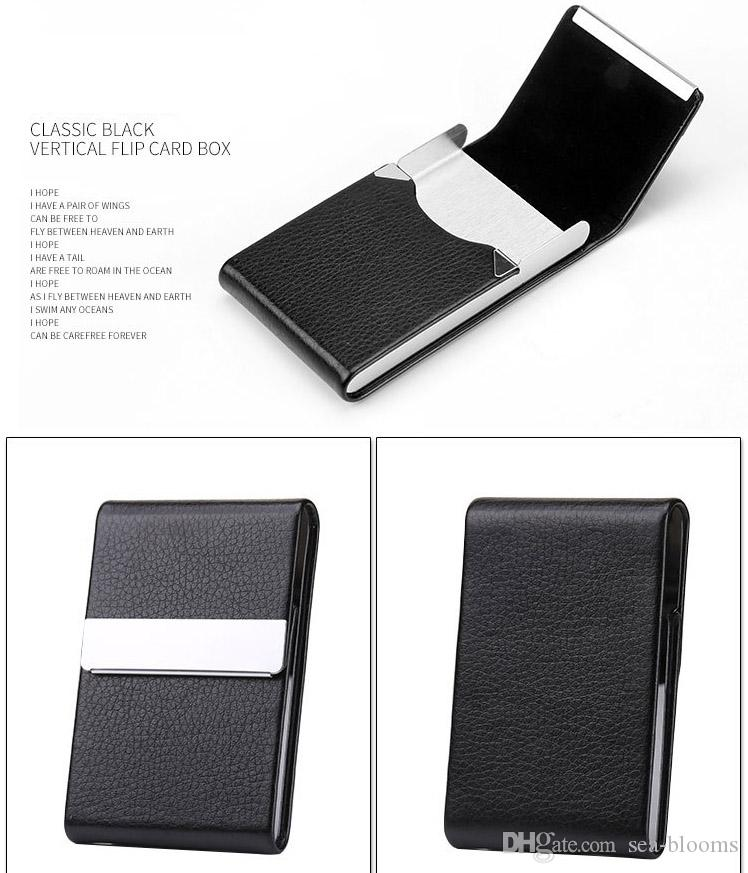 new product 12f66 16e34 New PU Leather Professional Business Card Holder Name Card Holder Case  Credit Card Case With Magnetic Shut Double Side Open Free DHL G923R