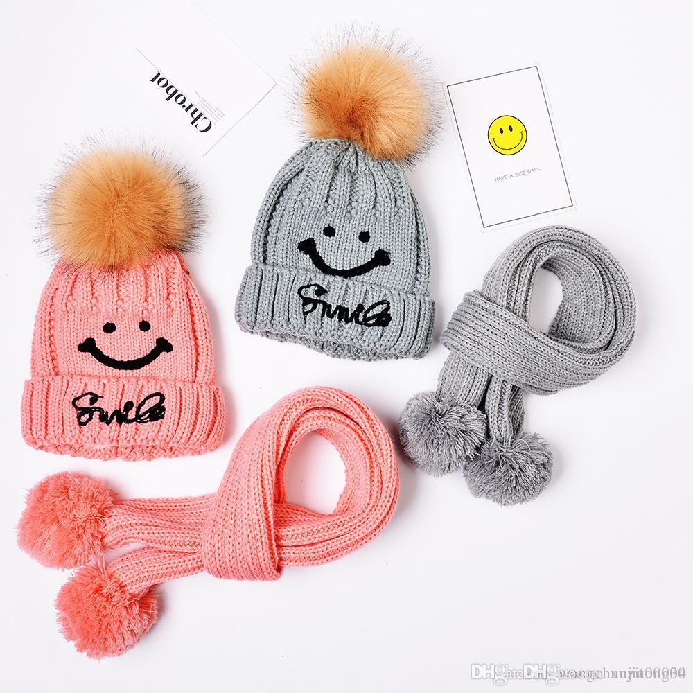 741a47f3a35 Hot Sales Baby Hand Knitting Smiling Hat Knitted Hat Children s Caps ...
