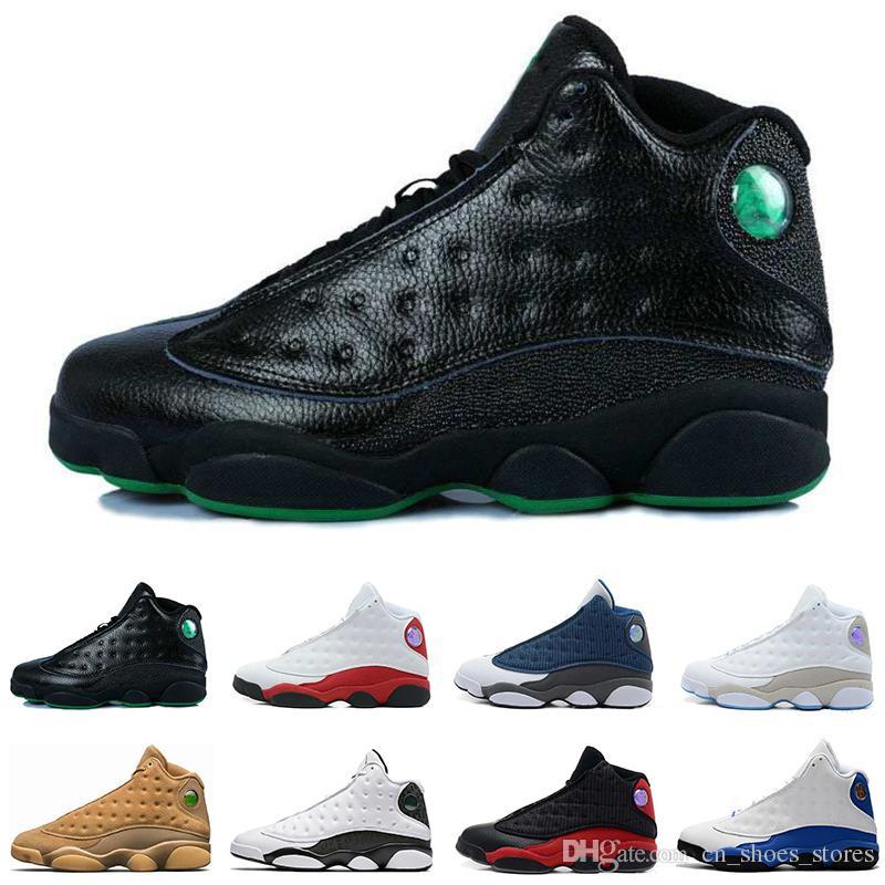 1d25aa5668b0 2019 Top 13 13s Mens Basketball Shoes Alititude Green Grey Toe Bred ...