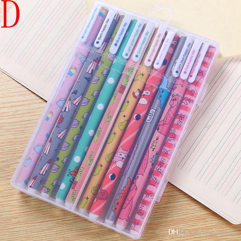 10 unids kawaii flor colorido Chancery gel pluma papelaria oficina escuela fuentes inmóvil canetas color pluma de la forma