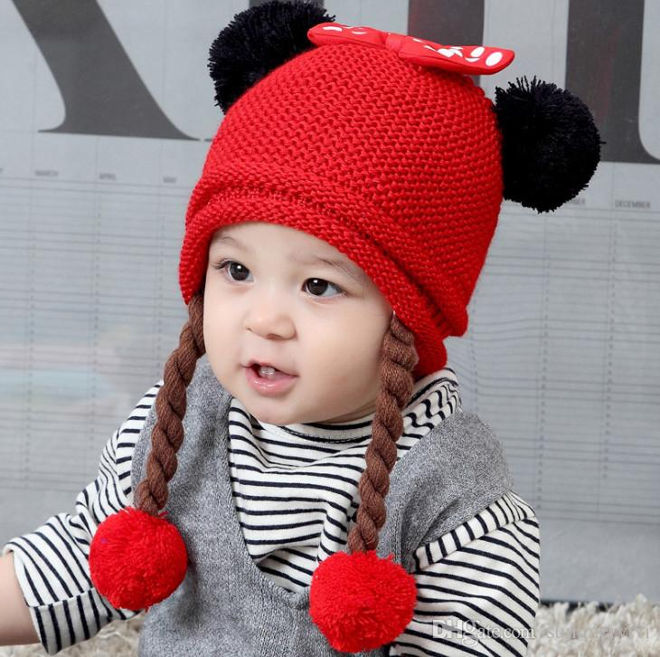 35e5f1f5cce 2019 Autumn Winter Baby Hat Girls Tassel Pompon Knit Hat Kids Polka Dots  Bows Applique Beanie Children Candy Color Crochet Braid Ears Cap F0524 From  ...