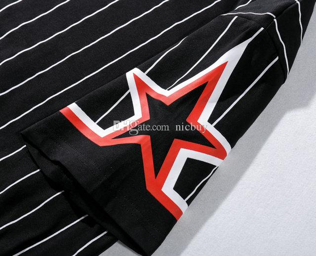 fashion designer shirt brand clothing t-shirt give for men striped line star sleeve print cotton casual tshirt tee tops t shirt shirts
