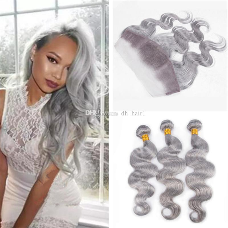 2018 3 Bundles Gray Human Hair Weaves With Lace Frontal Closure Body