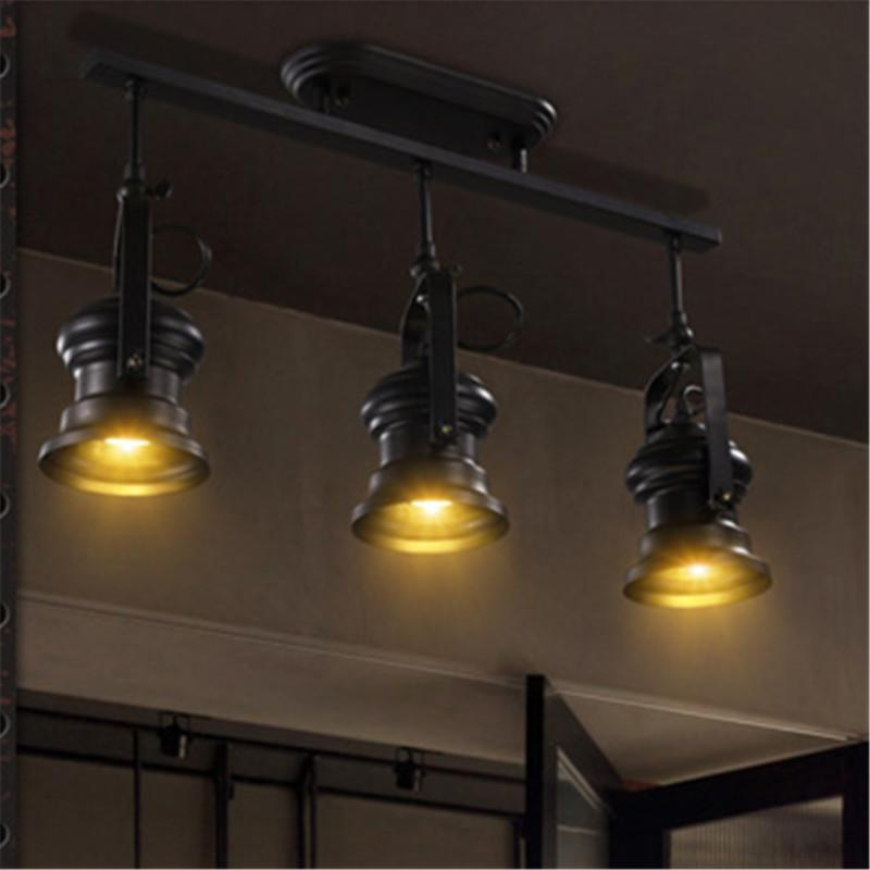 Creative Track Light Industrial Ceiling Hanging Lamp Loft Living Dining Room Chandelier Bar Party LED Shooting Lighting Decor Multi Pendant Brass