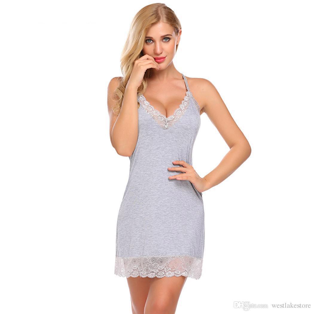 2f37aa599 2019 Lace Sexy Sleepwear Dress Homewear Nightie Nightdress Lingerie  Babydoll Sexy With Women Nightwear G String Chemise From Westlakestore