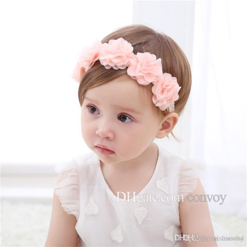 Großhandel Baby Spitze Stirnbänder Blumen Chiffon Blume Haarbänder ...