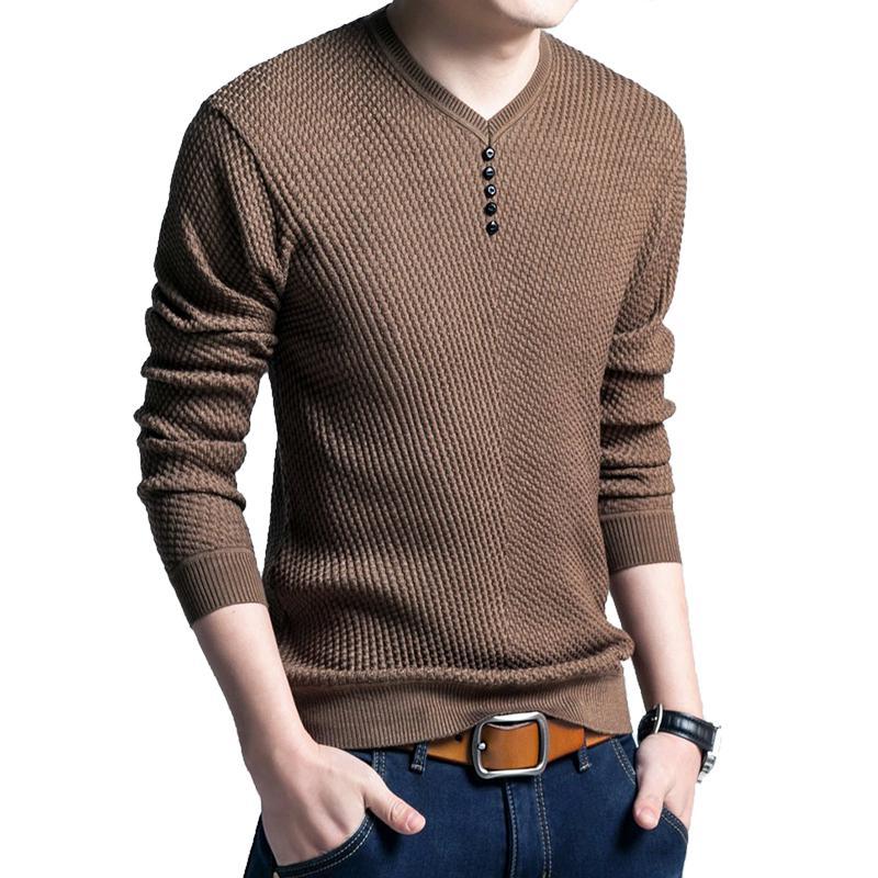Compre LAAMEI Sweater Hombre Casual Con Cuello En V Pullover Hombres Otoño  Slim Fit Camisa De Manga Larga Mens Sweaters Punto De Lana De Cachemira  Pull ... 9ad6194c6eb6