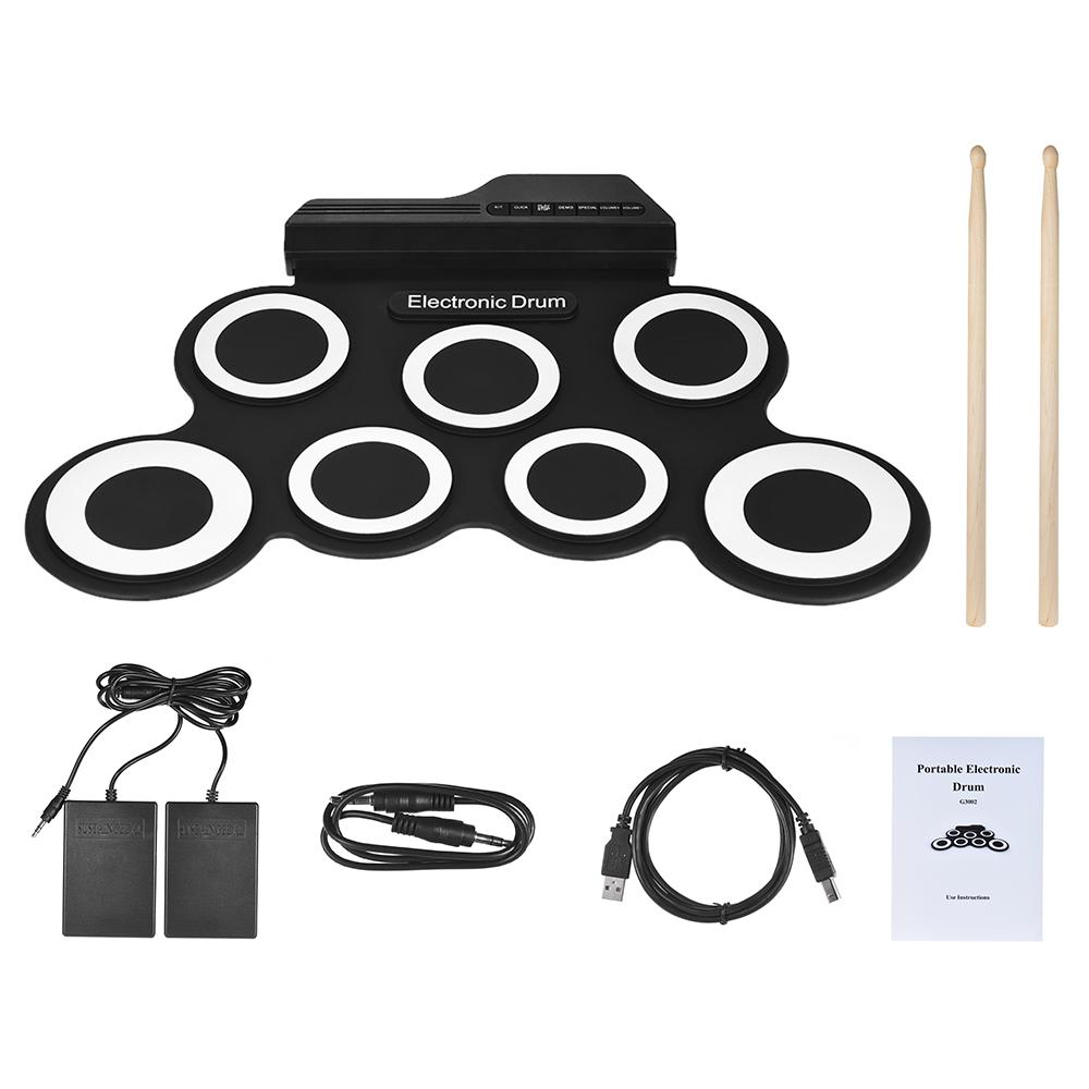 HOT Portable Digital Electronic Roll Up Drum Set Kit 7 Silicon Drum Pads USB Powered with Drumsticks Foot Pedals Compact Size free shipping