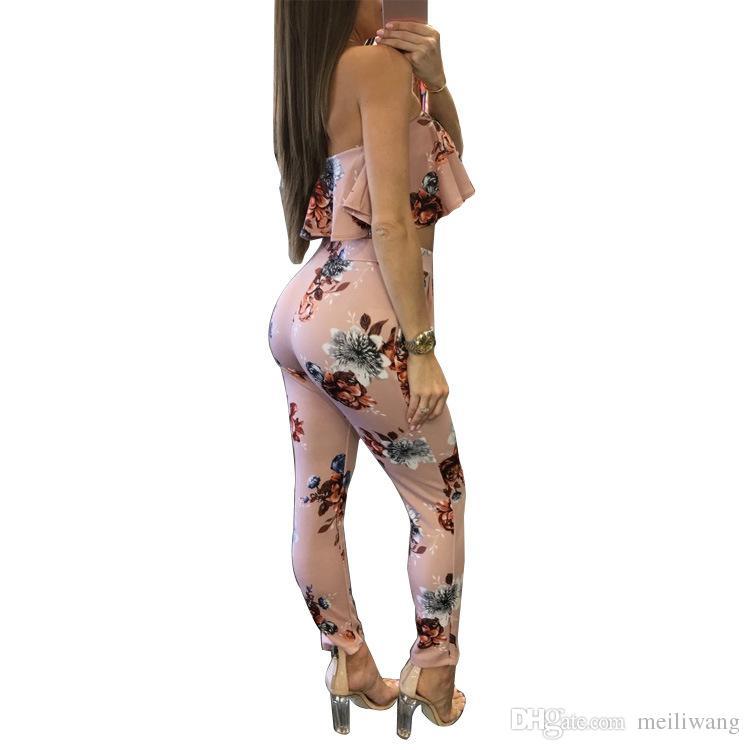 Venta al por mayor fuera del hombro Sexy estampado floral mono de dos piezas sin respaldo club mamelucos para mujer mono sin tirantes traje completo de verano guardapolvos