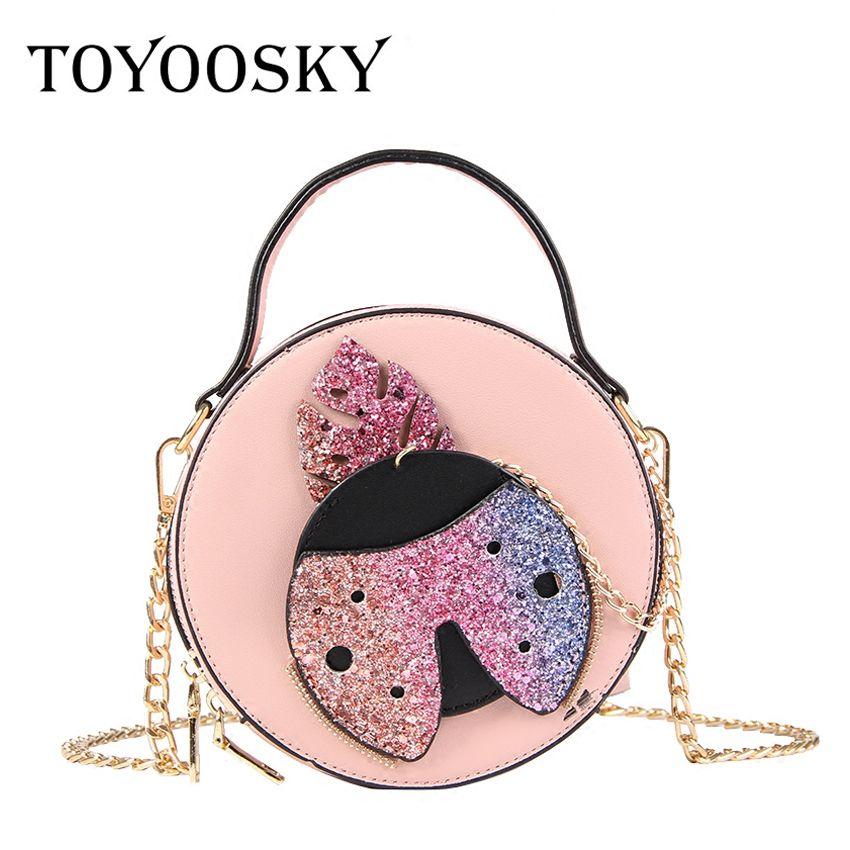 TOYOOSKY Chic Small Round Handbag Designer Sequins Women Crossbody ... 1cf9d73872