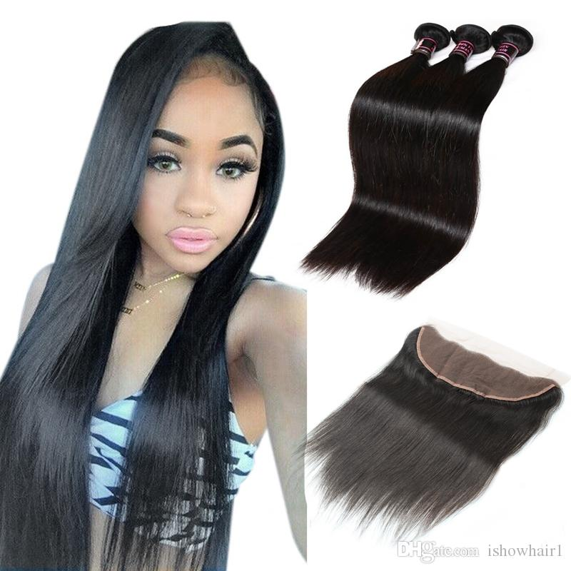 Wholesale 8a Brazilian Hair Weaves 3bundles With Lace Frontal Silky