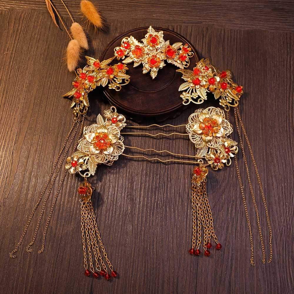 chinese hair jewelry sets for wedding bride tassel headdress