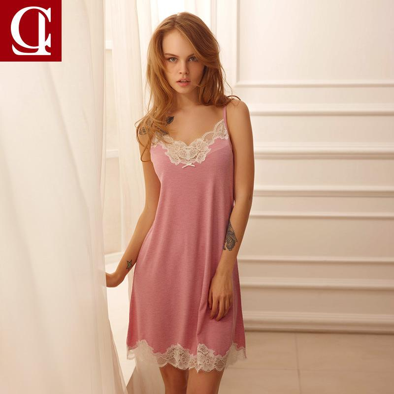 2019 Women Nightwear Night Dress Lady Cotton Nightgown Female Sleeveless  Lace Nighty Sexy Sleepwear Sleep Sleepshirt Sexy Lingerie From Lvyou09 05f81289e