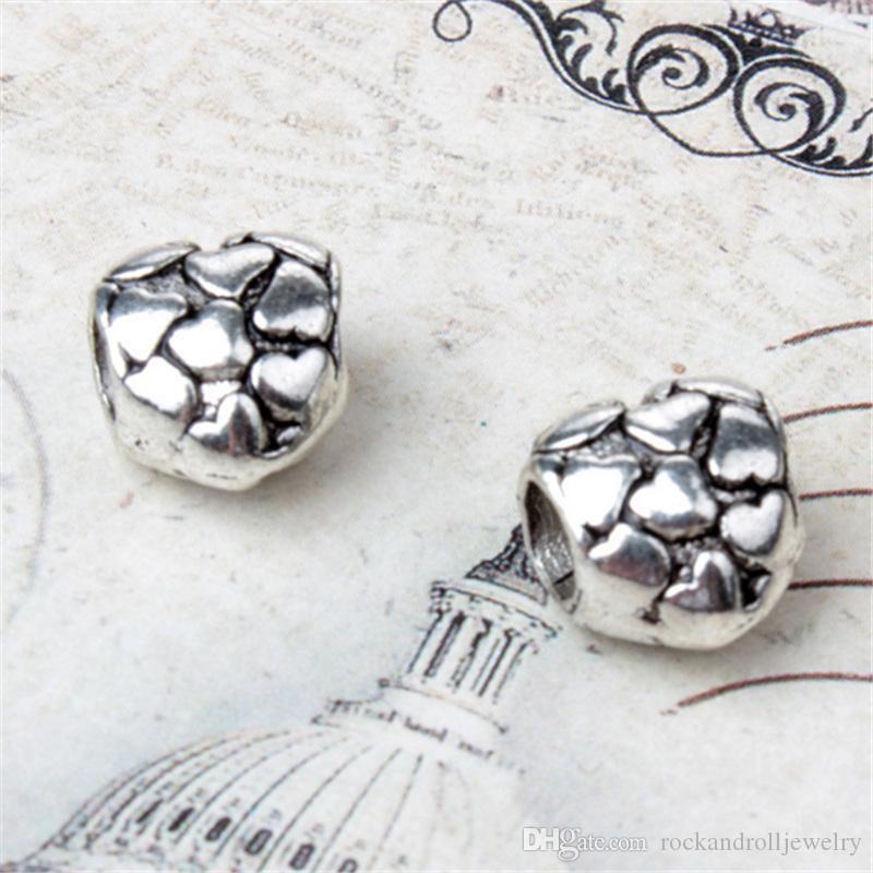 Completo com pouco coração liga charme para pandora pulseira cobra cadeia ou colar moda jóias solto pérola nova chegada