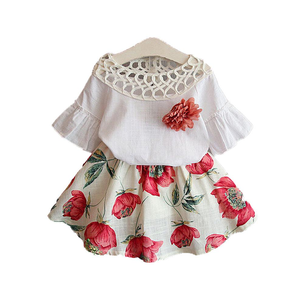 3aa225080a4c 2019 BibiCola 2017 Summer Girls Clothing Sets Kids Tops + Flower ...