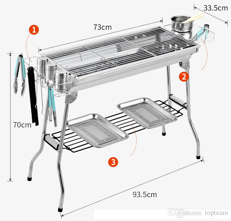 Portable folding BBQ barbecue grill stainless steel toolless bbq grill for outdoor and garden barbecue suitable for 5 to 15 people