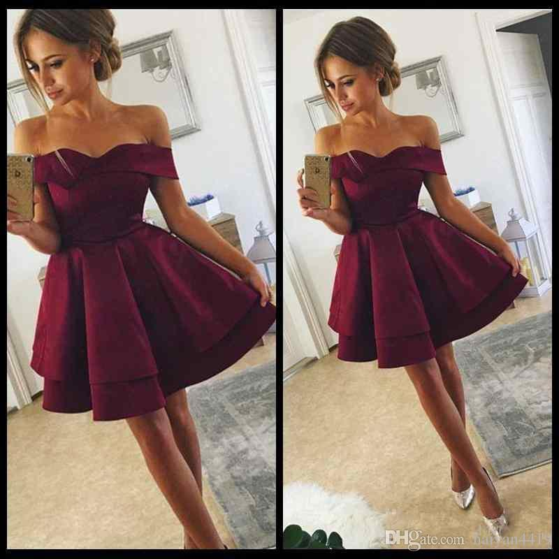 1d20454d1e 2018 Cheap Arabic Short Mini Burgundy A Line Homecoming Dresses Off  Shoulder Backless Tiered Ruffles Satin Sexy Cocktail Party Prom Gowns  Little Black Dress ...