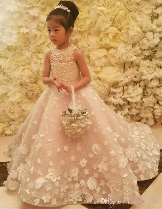 رومانسية الأميرة زهرة فتاة فساتين 2019 تصميم جديد المتطابقة القوس الكبير 3d زين اللؤلؤ الاطفال طويل فستان العروسة فتاة مهرجان أثواب f61
