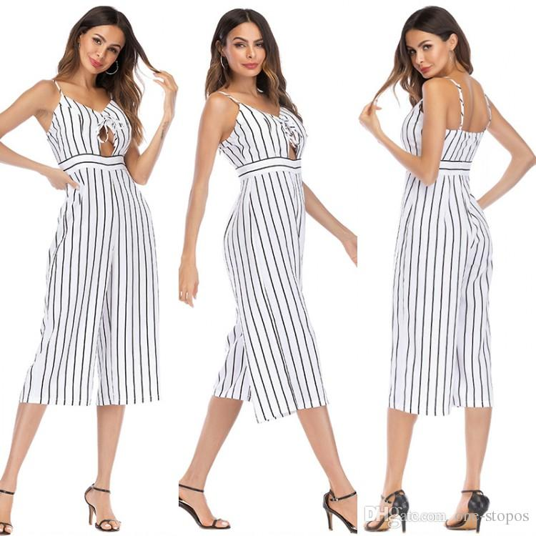 a84877b54c3 2019 Women Wide Leg Striped Jumpsuit Overalls 2018 Spaghetti Strap Keyhole  Neck Printed Loose Casual Beach Playsuits Boho Summer Long Pants F5547 From  One ...
