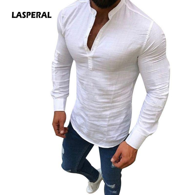 b58182af LASPERAL Plus Size 3XL Men Social Shirt Casual Button Cotton Mens Clothing  Fashion Solid Long Sleeve V Neck Slim Fit White Shirt D18101306 Online with  ...
