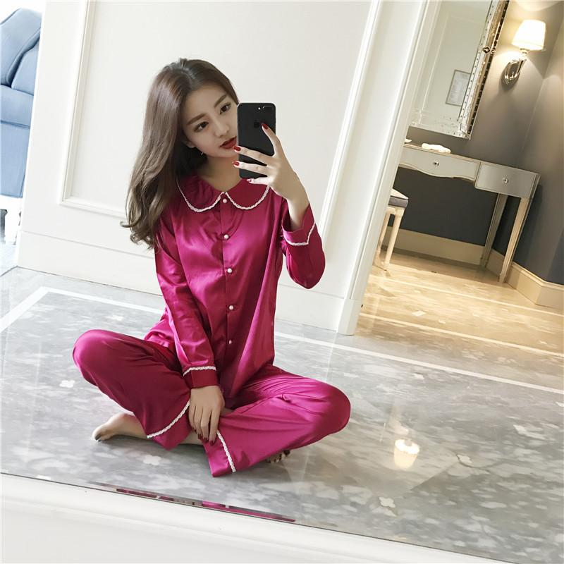 b302c0dd70 Womens Pajamas Sets Korean Style Slim Girls Satin Silk with Lace ...