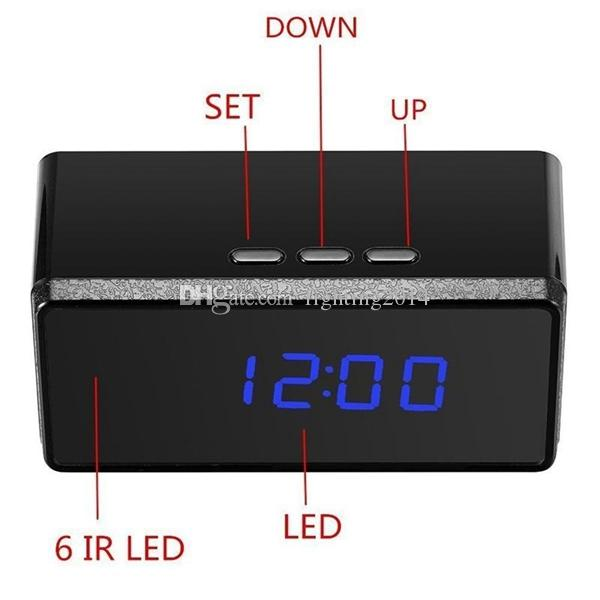 HD 1080p Alarm clock pinhole camera IR Night vision mini clock camera With Remote Control Digital Video camera support Motion Detection