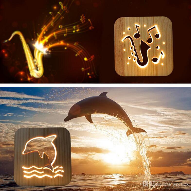 La luce di legno del leone 3D luce bianca calda USB alimentata DC 5V USB ha alimentato Dropshipping all'ingrosso Trasporto libero