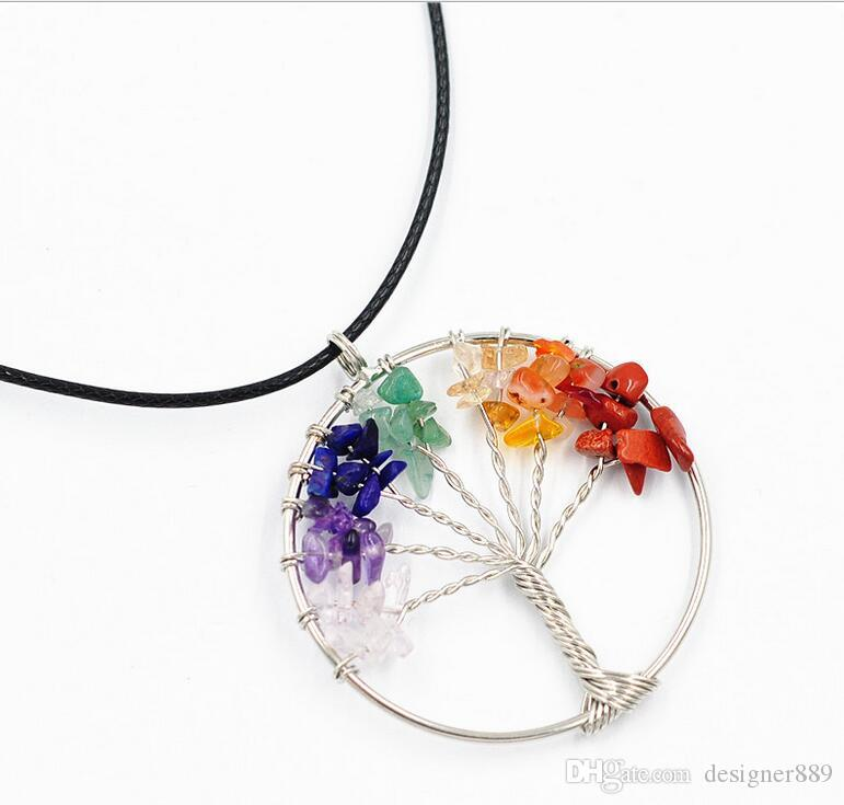 Colorful natural stone pendant leather cord necklace tree type necklace colorful stone tree nceklace fashion jewelry gift free drop ship