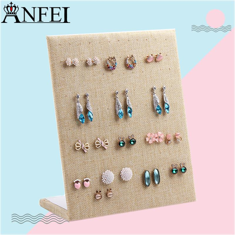 2018 Anfei Linen Earring Display Shelf Board Pin Earrings Jewelry
