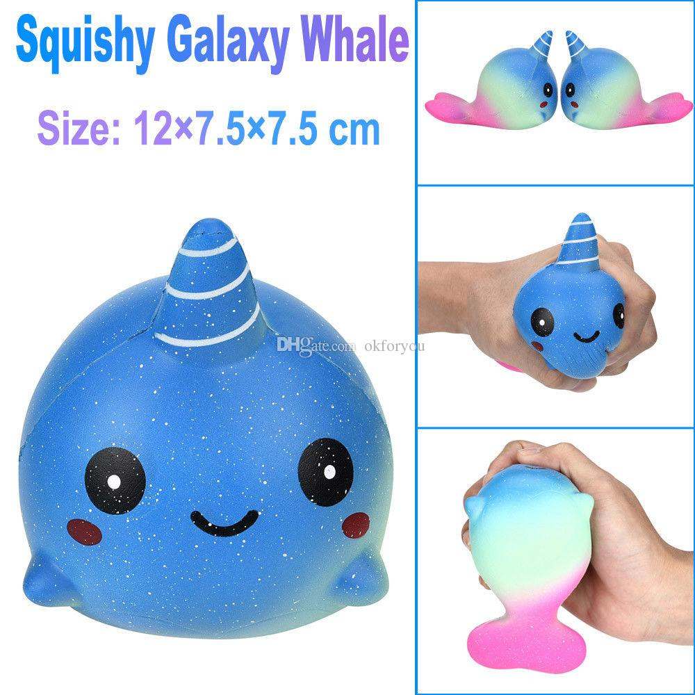 Hot Sell 12cm Big Unicorn Galaxy Whales Squishy Toys For Kids Slow Rising Finger Doll Toy Charm Stretchy Animal Healing Stress Paste Squeeze