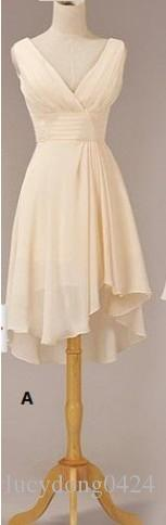 Koyu Çikolata Tarzı Bir US24W Yeni Ucuz Zarif Özel Halter Diz Boyu Gelinlik Modelleri / Düğün Parti Elbiseler LD003