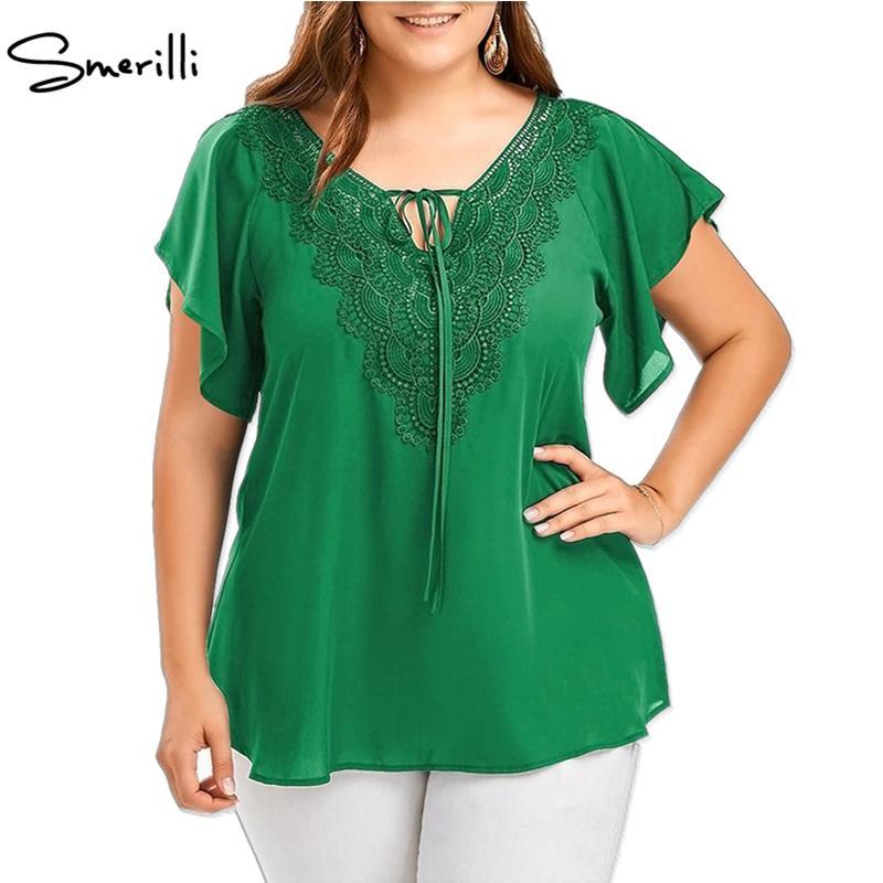 d79b381ec807 Blusa tops de talla grande 2018 mujeres del verano con cuello en V blusa de  gasa casual manga corta suelto túnica boho mujeres blusa de las mujeres ...