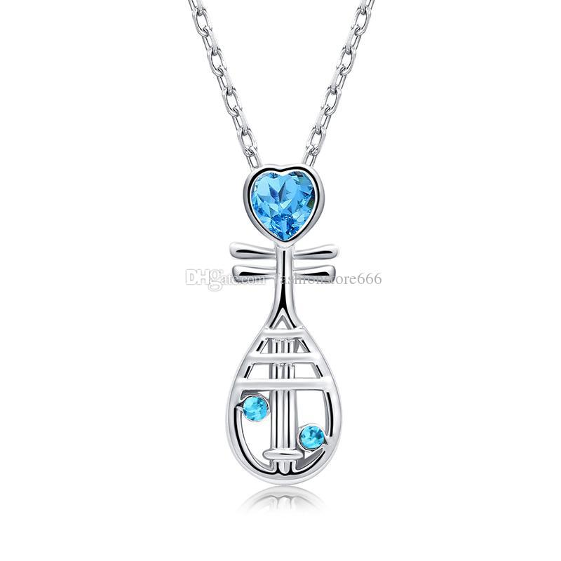 2018 Chinese Musical Instrument Crystal Heart Pipa Necklace Silver Chain Crystal Diamond Pendant Fashion Jewelry Gift for Women Kids