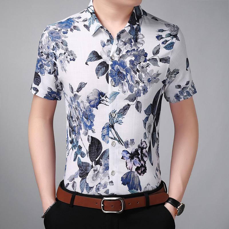 18b1493180b00 2019 Men Shirt Mens Business Casual Shirts 2018 New Arrival Men Famous  Brand Clothing Floral Short Sleeve Camisa Masculina 7XL From Hiem