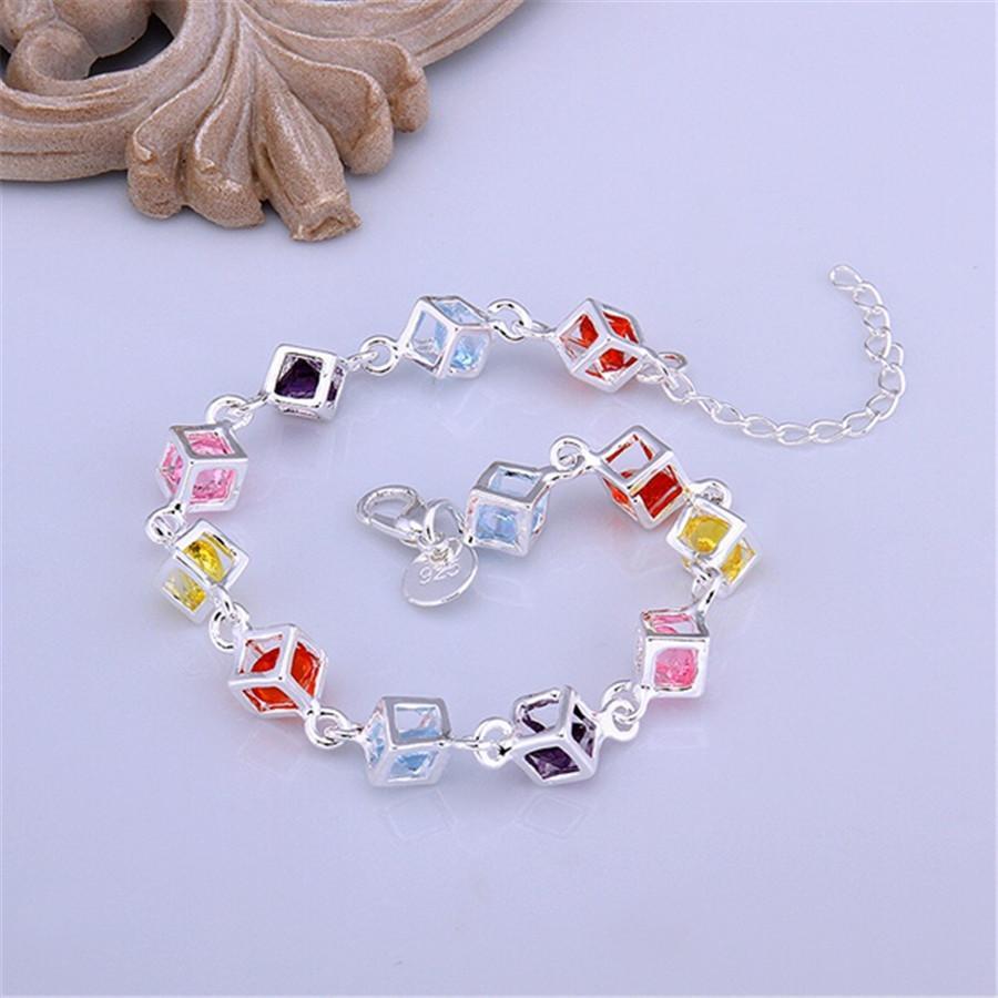 Güzel gümüş kaplama renk kristal bilezikler yeni listeleri yüksek kalite moda takı Yılbaşı hediyeleri düğün takı